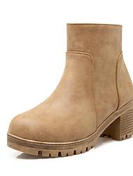 Women's Boots Fall / Winter Fashion Boots Leatherette Dress Chunky Heel Zipper Yellow / Red / Gray Walking