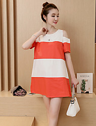 Maternity Casual/Daily Cute Loose Dress,Patchwork Round Neck Above Knee Short Sleeve Orange Cotton Summer