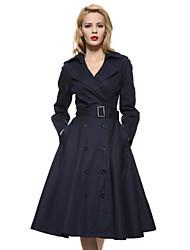 Feminino Casaco Longo Casual / Trabalho / Informal estilo antigo / Moda de Rua / Sofisticado Primavera / Outono,Sólido Azul / Bege / Preto