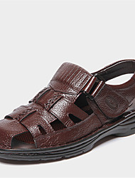 Men's Sandals Summer Sandals / Round Toe Leather Casual Flat Heel Others Black / Brown Walking