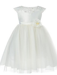 Ball Gown Tea-length Flower Girl Dress - Tulle Short Sleeve Jewel with Appliques / Beading / Sash / Ribbon
