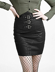 Punk Rave q-279 Punk Winter Frauen eng anliegende hohe Taille PU-Rock