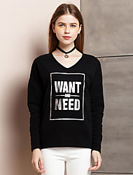 Damen Buchstabe Einfach Ausgehen T-shirt,V-Ausschnitt Sommer Langarm Weiß / Schwarz Kunstseide / Polyester Dünn