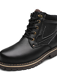 Men's Boots Fall Winter Comfort PU Outdoor Athletic Flat Heel Lace-up Black Tan Khaki Others