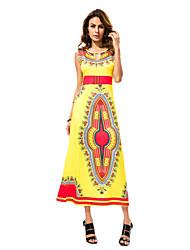 In Farbe Damen Rundhalsausschnitt Ärmellos Maxi Kleid-5521