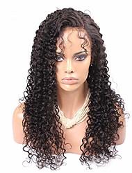 """естественный цвет Kinky кудрявый полные парики шнурка необработанный бразильские виргинские человеческих волос 8 """"-12"""""""