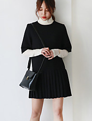 Women's Going out Simple Sheath Dress,Patchwork Turtleneck Above Knee Long Sleeve Black Cotton Spring / Fall