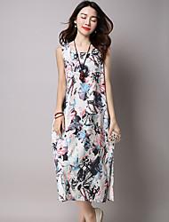 Women's Casual / Vintage Loose Dress,Print Round Neck Midi Sleeveless Blue / Red / White Cotton / Linen Summer