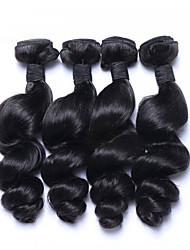 """4pcs Dia das Bruxas / Lote 8 """"-26"""" malaio virgem cor do cabelo # 1b onda solta extensões de cabelo humano feixes"""