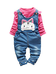 Girl's Casual/Daily Print Clothing Set,Cotton Fall Pink / Red / White