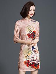 Mujer Línea A Vestido Noche Vintage / Sofisticado,Estampado Escote Chino Mini 1/2 Manga Beige Seda Primavera Tiro Medio Rígido