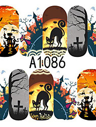 1pcs Nail Art Halloween Sticker Pumpkin Haunted House Animal DIY Nail Art Decoration A1086-1090