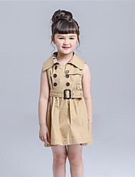 KIMOCAT Girl's Casual/Daily Solid Dress,Cotton Summer Beige