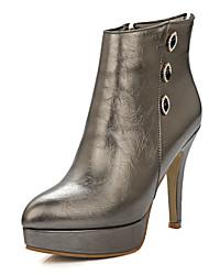 Calçados Femininos-Botas-Plataforma / Bico Fino / Botas da Moda-Salto Agulha-Preto / Vermelho / Branco / Champagne-Courino-Social /