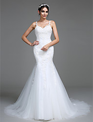 Mermaid / Trumpet Straps Court Train Tulle Wedding Dress with Appliques by LAN TING BRIDE®