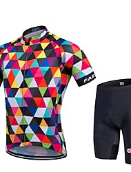 fastcute Cycling Jersey with Shorts Men's Unisex Short Sleeve Bike Bib Tights Jersey Shorts Clothing SuitsQuick Dry Front Zipper Wearable