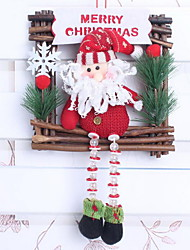30cm Square Santa Snowman Christmas Wreath Rattan Christmas Window Ornaments (Random Shape)