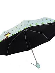 Verde / Azul / Rosa / Rose Guarda-Chuva Dobrável Ensolarado e chuvoso têxtil Viagem / Lady / Masculino