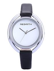 REBIRTH Mujer Reloj de Moda Reloj de Pulsera Cuarzo / PU Banda Casual Elegantes Minimalista Negro Blanco