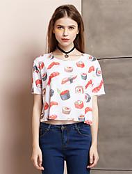 Damen Druck Einfach Ausgehen T-shirt,Rundhalsausschnitt Sommer Kurzarm Weiß Polyester / Elasthan Dünn