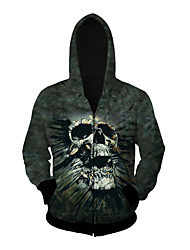 3D  Hoodie Long Sleeve Black Skull Printing Clothing