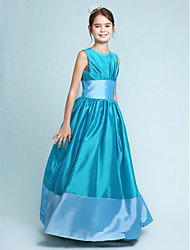 Lanting Bride Floor-length Taffeta Junior Bridesmaid Dress A-line / Princess Jewel Natural with Draping / Sash / Ribbon