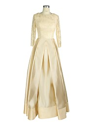 A-line Mother of the Bride Dress - Elegant Floor-length 3/4 Length Sleeve Satin with Sequins