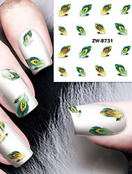 Fashion Printing Pattern Water Transfer Printing  Feather Nail Stickers