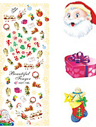 1 pcs Nail Art Water Transfer Christmas Sticker Colorful Happy Christmas Image Nail Decoration HOT195