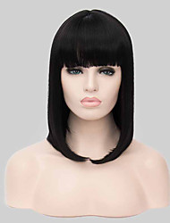 Fashional Middle Long Black Bobo Synthetic Wig Hot Sale.