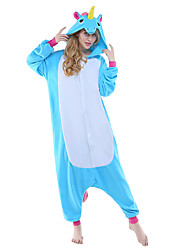 Kigurumi Pajamas New Cosplay® Flying Horse Unicorn Leotard/Onesie Festival/Holiday Animal Sleepwear Halloween Blue Patchwork Polar Fleece