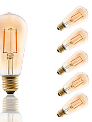 E27 LED Filament Bulbs ST58 COB 180 lm Amber Decorative AC 220-240 V 6 pcs Edison Style Bulb