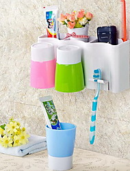 Wall Suction Toothbrush Holder Toothbrush Cup Wash Suite for Family of Three