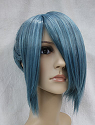 Japanese High-quality Synthetic Hair Nile-Blue Mix Black Anime Cosplay Costume Short  Ponytal Wig