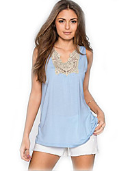 Women's Plus Size Sexy Tank Top Solid V Neck Sleeveless Blue Cotton / Spandex Thin