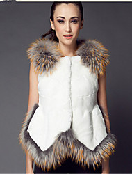 Women's Plus Size /Party/Cocktail Sexy / Simple / Chinoiserie Fur Coat,Solid Round Neck Sleeveless Fall /