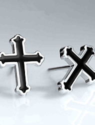Unisex FashionCross Style Silver Stud Earrings 1-Pair