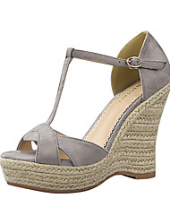 Women's Sandals Summer Wedges Fleece Casual Wedge Heel Others Black / Pink / Red / Gray / Almond Others