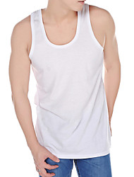 Men's Solid Casual / Plus Sizes Tank Tops,Cotton Sleeveless-White
