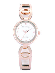 REBIRTH® Women's Simple Fashion Slim PU Leather Rose Gold Strap Quartz Wrist Watch