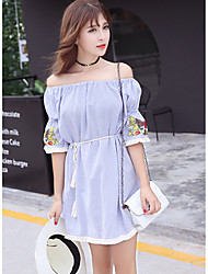 Women's Going out / Cute Sheath Dress,Striped / Embroidered Boat Neck Above Knee Long Sleeve Blue Cotton Summer