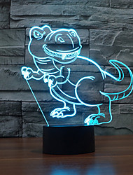 dinossauro toque escurecimento 3D conduziu a luz da noite 7colorful decoração atmosfera lâmpada de iluminação novidade luz de Natal