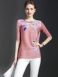 Mulheres Camiseta Formal Sofisticado Primavera,Floral Rosa Raiom Decote Redondo Manga ¾ Fina