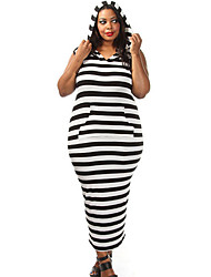Women's Black White Stripe Plus Size Hooded Midi Dress
