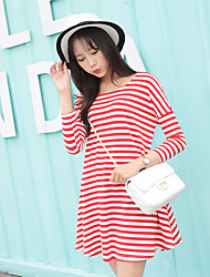 Maternity Casual/Daily Simple Loose Dress,Striped Round Neck Above Knee ¾ Sleeve Red / Black Polyester Summer