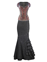 Burvogue Women's Steel Boned Bustier Overbust Steampunk Corset Dress Tops