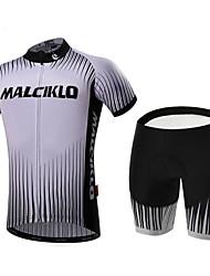 Malciklo Maillot et Cuissard de Cyclisme Homme Manches courtes Vélo Ensemble de VêtementsSéchage rapide Zip frontal Vestimentaire Haute