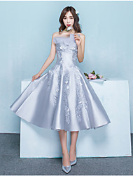 Cocktail Party Dress A-line Strapless Tea-length Satin with Beading