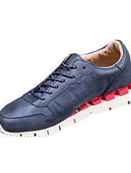 Herren-Flache Schuhe-Lässig-PU-Flacher Absatz-Rundeschuh-Blau / Grau