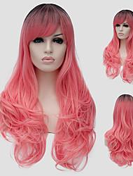 micro volume de cabelos longos cor de rosa eo vento nightclub cor performances de rua milhões com uma peruca parcial.